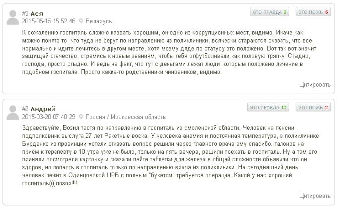Отзывы о центральном военном клиническом госпитале РВСН 25