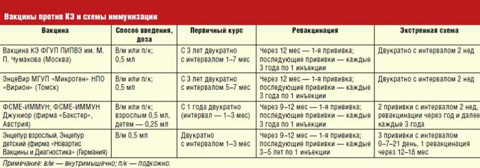 Схема иммунизации вакциной против клещевого энцефалита